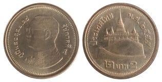 泰国铢的硬币 免版税库存照片