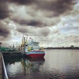 泰国雨的小船 库存照片