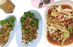 泰国食物、番木瓜沙拉、剁碎的鲶鱼辣沙拉用草本和未加工的猪肉在辣调味品 库存图片