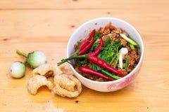 泰国食物开胃菜, Nam Prik Aong,泰国北样式猪肉和 免版税库存图片