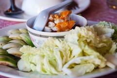 泰国食物开胃菜, Nam Prik Aong,泰国北样式猪肉和 免版税库存照片
