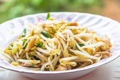 泰国食物新芽混乱 免版税库存照片