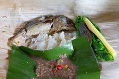 泰国食物是与室外活动的辣包裹 免版税图库摄影