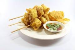 泰国食物油煎的馄饨 图库摄影
