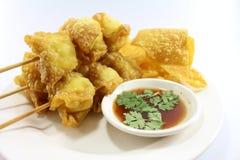 泰国食物油煎的馄饨 免版税库存图片