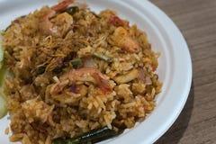 泰国食物炒饭用辣的虾 免版税库存照片