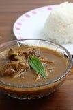 泰国食物猪肉咖喱用米 免版税库存照片