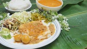 泰国食物米细面条用鱼咖喱汁和菜ha 库存照片
