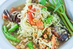 泰国食物绿色番木瓜的沙拉 库存照片