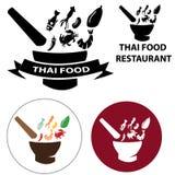 泰国食物餐馆商标和传染媒介象与被隔绝的对象 免版税图库摄影