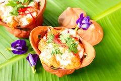 泰国食物,与咖喱酱的被蒸的鱼 库存照片