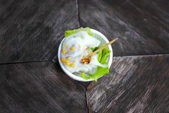 泰国食物,在桌上的西米 免版税图库摄影
