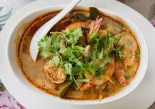 泰国食物,汤姆薯类gung 免版税库存照片
