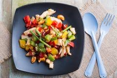 泰国食物,混乱射击了与腰果的鸡 图库摄影