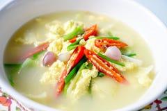 泰国食物,蒸的鸡蛋,蛋汤 免版税库存照片