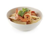 泰国食物,辣和酸汤用虾和番木瓜 图库摄影