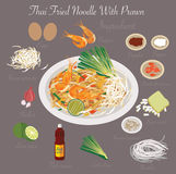 泰国食物(泰国油煎的面条用大虾) 图库摄影