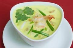 泰国食物绿色咖喱虾 库存图片