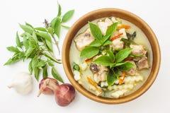 泰国食物绿色咖喱鸡和大蒜,葱 免版税图库摄影