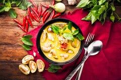 泰国食物绿色咖喱鸡 库存图片