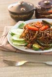 泰国食物;辣油煎的面条用猪肉 免版税库存图片