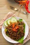 泰国食物;辣油煎的面条用猪肉 库存照片