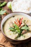 泰国食物Kaeng苍白的Khiao,绿色咖喱用猪肉 免版税库存图片