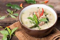 泰国食物Kaeng苍白的Khiao,绿色咖喱用猪肉 库存图片