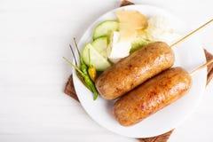 泰国香肠,被发酵的米用猪肉香肠 图库摄影