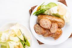 泰国香肠,被发酵的米用猪肉香肠 库存图片