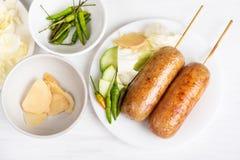 泰国香肠,被发酵的米用猪肉香肠 免版税库存照片
