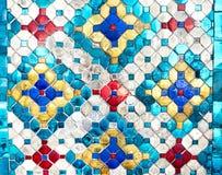 泰国马赛克五颜六色的样式纹理背景,做由玻璃 免版税图库摄影
