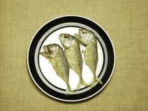 泰国鲭鱼在拷贝空间褐色颜色粗麻布麻袋布油煎了 库存图片