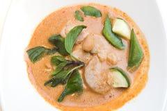 泰国鸡咖喱红色的样式 免版税库存照片
