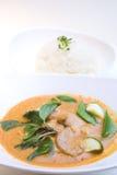 泰国鸡咖喱红色的样式 图库摄影