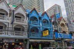 泰国,芭达亚,芭达亚25,06,2017条街道有巨大数字的 库存照片