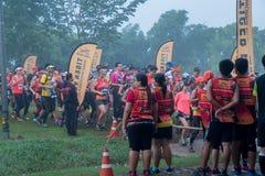 泰国, Khaoyai - 2016年10月2日,足迹系列老虎香脂2016年  它是足迹在khaoyai的赛跑者事件在泰国 图库摄影