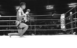 泰国年轻拳击手准备他的身体 库存照片