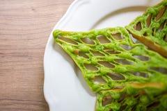 泰国绿色奶蛋烘饼 免版税库存图片