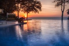 泰国 Ko张 张Buri在日落的度假旅馆大象 免版税库存照片