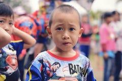泰国` s全国儿童` s天-一个孩子的照片在Saraphi - Chiangmai的一儿童` s天 泰国2018年1月-13 免版税库存图片