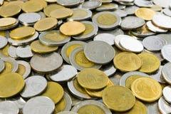 泰国` s硬币混合1,2,5,10泰铢 库存图片