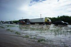 泰国bangbuathong的洪水 免版税库存照片