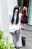 泰国cosplayers穿戴作为从动画片和比赛的字符在日本festa在曼谷 库存照片