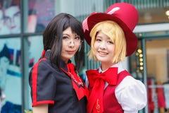 泰国cosplayers穿戴作为从动画片和比赛的字符在日本festa在曼谷 图库摄影
