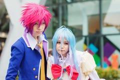 泰国cosplayers穿戴作为从动画片和比赛的字符在日本festa在曼谷 免版税图库摄影