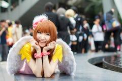泰国cosplayers穿戴作为从动画片和比赛的字符在日本festa在曼谷 免版税库存照片