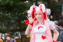 泰国cosplayers穿戴作为从动画片和比赛的字符在日本festa在曼谷 免版税库存图片