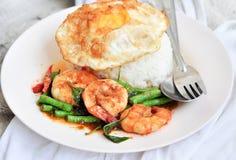 泰国cury与shirm和米 免版税库存照片