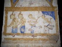 泰国ESARN著名独特的神话故事墙壁上的壁画绘画 免版税库存照片
